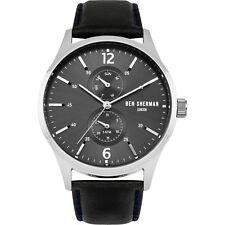 Ben Sherman WB047B Men's Quartz Watch Black Dial Leather Strap SS 43MM