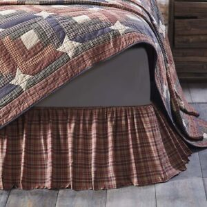 """VHC Brands Parker Rustic Twin Bed Skirt Burgundy Natural Navy Plaid 39x76x16"""""""