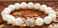 Charm 10mm Round White Mother Of Pearl Shell Beads Stretch Bangle Bracelet 7.5''