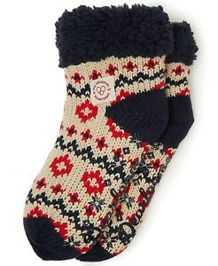 Dearfoams Knit Cozy Slipper Sock Latte One Size