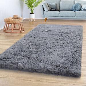 Teppich Wohnzimmer Hochflor Shaggy Weich Modernes Einfarbiges Design In Grau