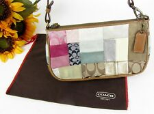 COACH Multi-Colored Patchwork Small Handbag Wrislet Leather Suede Jacquard