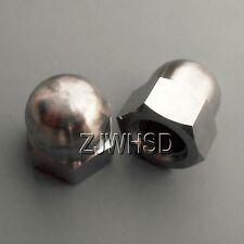 2pcs M10 x 1.25 Fine Thread Titanium Ti Acorn Hex Cap Nut / Aerospace Grade