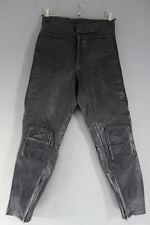 KETT BLACK COWHIDE LEATHER BIKER TROUSERS: WAIST 30 INCHES/INSIDE LEG 29 INCHES