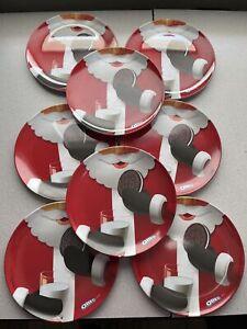 Oreo 2010 Plates Christmas Santa Eating Cookie 8 Inch Melamine Lot of 8 Kraft