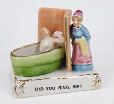 "Vintage Small Porcelain Fairing Figurine ""Did You Ring, Sir "" Gentman in Bathtub"