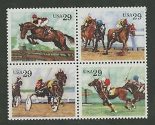 Horses Polo Race Harness Steeplechase mnh block of four 1992 USA #2759a Sulky