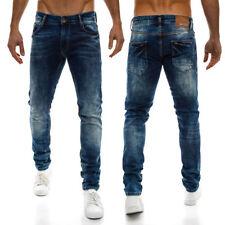 Pantaloni da uomo blu regolare in misto cotone