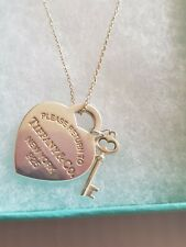 """Tiffany & Co Heart & Key Necklace 18"""" Lovely Condition"""