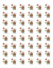 "48 BUMBLE BEE FLOWER ENVELOPE SEALS LABELS STICKERS 1.2"" ROUND !"