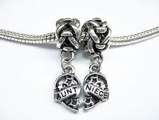 Antiue Silver Plated Aunt Niece 2 Piece Heart Charm Bail Bead Set Fits Bracelet