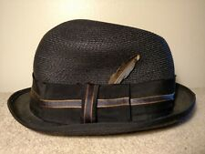 Vintage Champ Fedora Black Hat Cool and Comfortable Imported Fine Braid 6 7/8