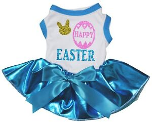 Happy Easter Bunny White Cotton Top Bling Blue Tutu Pet Dog Puppy Dress