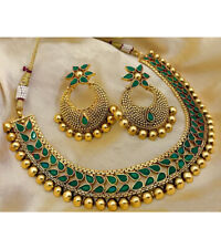 Indian Bollywood Choker Copper Necklace Wedding Gold Tone Green Fashion Jewelry