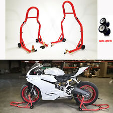 Stand Front & Rear Swingarm Stand Red Wheel Stands Lift Bike Spools for Kawasaki
