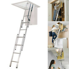 Werner Durable Attic Ladder Aluminum Anti-Slip Lightweight 7-9 ft w. Assist Pole