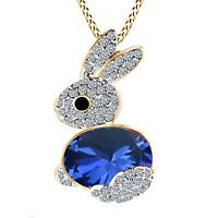 14CT Yellow Gold Over Sapphire Cute Lucky Rabbit Bunny Pendant Chain Necklace