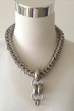 ARIS GELDIS PARIS Silver Plated Chunky Box Link Chain Necklace Toggle Clasp