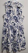 Sunny Girl Dress (Antique Blue Rose print (size - 12)