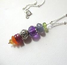 Multi Gemstone Linear Sterling Silver Necklace Handmade JH Fine Bead Jewelry