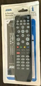 ASDA 8 Device Universal Remote Control - TV DVD Sat Freeview Audio VCR