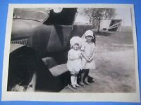 Vintage Black & White Glossy Photograph 2 Flapper Girls Next To Old Truck