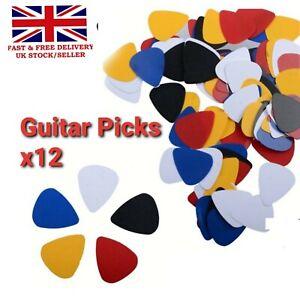 12x Modern Thin Celluloid Guitar Picks Plectrums Electric Acoustic & Bass