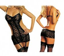 Ensemble lingerie guêpière dentelle noir ultra sexy neuf taille M