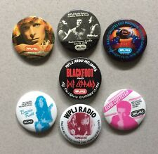 Wplj 95.5 Radio Rock Concert Pinback Buttons, Def Leppard, Bowie 1978 1981 1982