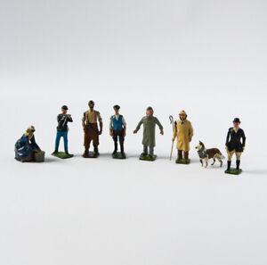 8 Vintage Britains Lead Figures - Made in England - Farmer, Sheperd Dog…