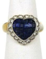 Estate 2.1ct Diamond Sapphire 18k Two Tone Gold Heart Cocktail Ring