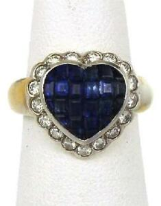 Elegant 2.1ct Diamond & Sapphire 18k Two Tone Gold Heart Ring Size 5.25
