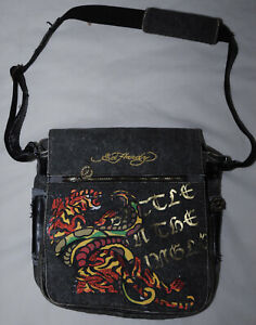 Ed Hardy Grey Denim Messenger Bag DAMAGED