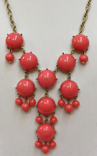 "Bib Necklace 23"" Coral Pink Beads on Gold Tone Metal Chain Statement"