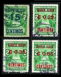 COSTA RICA 1956/62: Wert-Aufdrucke; Nr. 522 + 608 + 609 + 611° (L921)