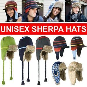 Mens Ladies Winter Sherpa Hat Faux Fur Fleece Russian Trapper Ear Protection Cap