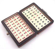 Set Of 144 Tiles Mah-Jong In Red Finish Leather Dragon Phoenix Fireball Wood Box