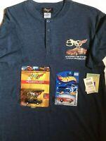 Corvette 50th Anniversary Shirt Short Sleeve Henley NWT & 2 Die Cast Cars NIP