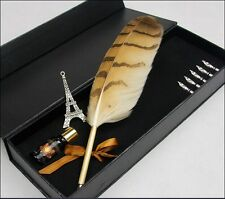 Owl-Feather-Quill-Harry-Potter-Hogwarts-QUILL-Pen-and-Ink-Set-Rare  Owl-Feather