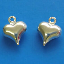 50 Silver Plated 11x9mm Puffy Heart Charms Jewellery Making