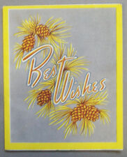 Pine cones Best Wishes  CHRISTMAS VINTAGE GREETING CARD *R