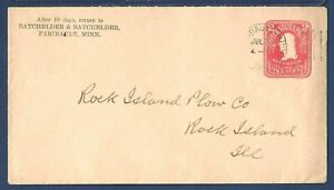 US Stamped Envelope U387 Washington 2¢ Carmine Faribault MN to Rock Island IL