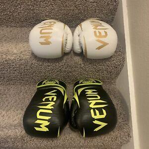 Venum Boxing Gloves 14oz White/Gold Black/Neon Green