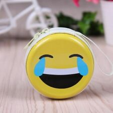 Yellow Cute Cry Emoji Tinplate Round Earphone Coin Key Bag Wallet Purses Gift