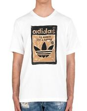 Men's New Adidas Originals Graphic Logo T-Shirt Top - White - Retro Vintage