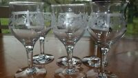 Etched Cordial Glasses Liqueur Stems Aperitifs glasses Elegant barware 6 3 oz