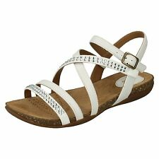 Clarks Womens Autumn Peace White Leather Cushioned Insole Ankle Strap Sandals UK 4