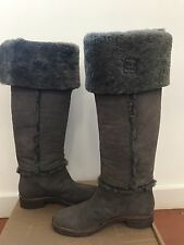 $675 Diane von Furstenberg 'Adele' Flint Calf Shearling Leather boots Sz 8.5