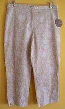 NWT Women's Valerie Stevens PAISLEY Sz 12 PANTS Cotton Blend Casual TAN & White