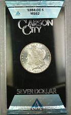 1884-CC GSA Hoard Morgan Silver Dollar $1 Coin ANACS MS-62 with Box & COA (i)